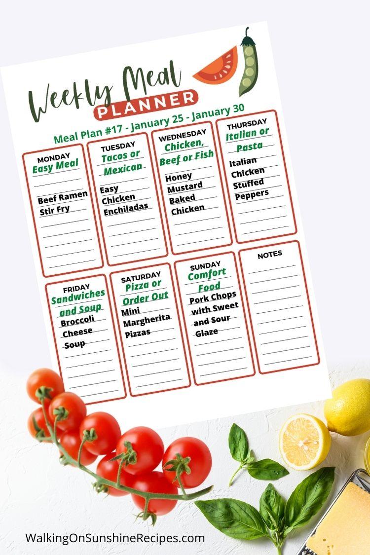 Weekly Meal Plan Printable Week 17