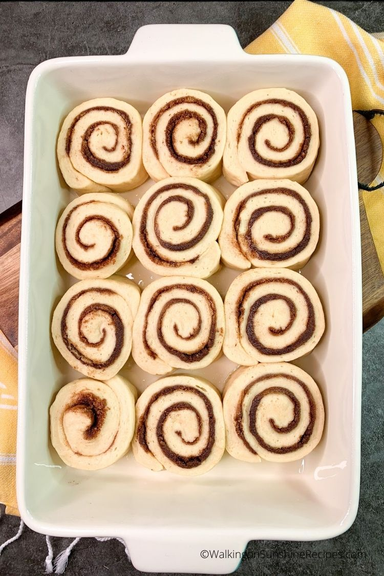 Place cinnamon rolls in baking dish and refrigerate overnight
