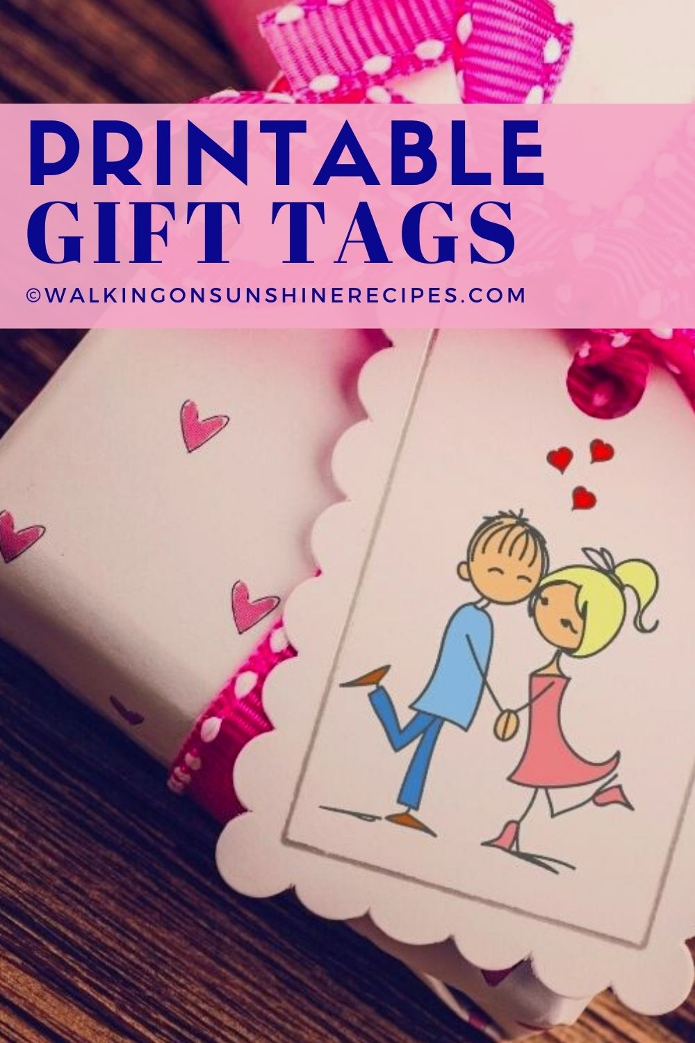 Valentine's Day gift tags on gift box