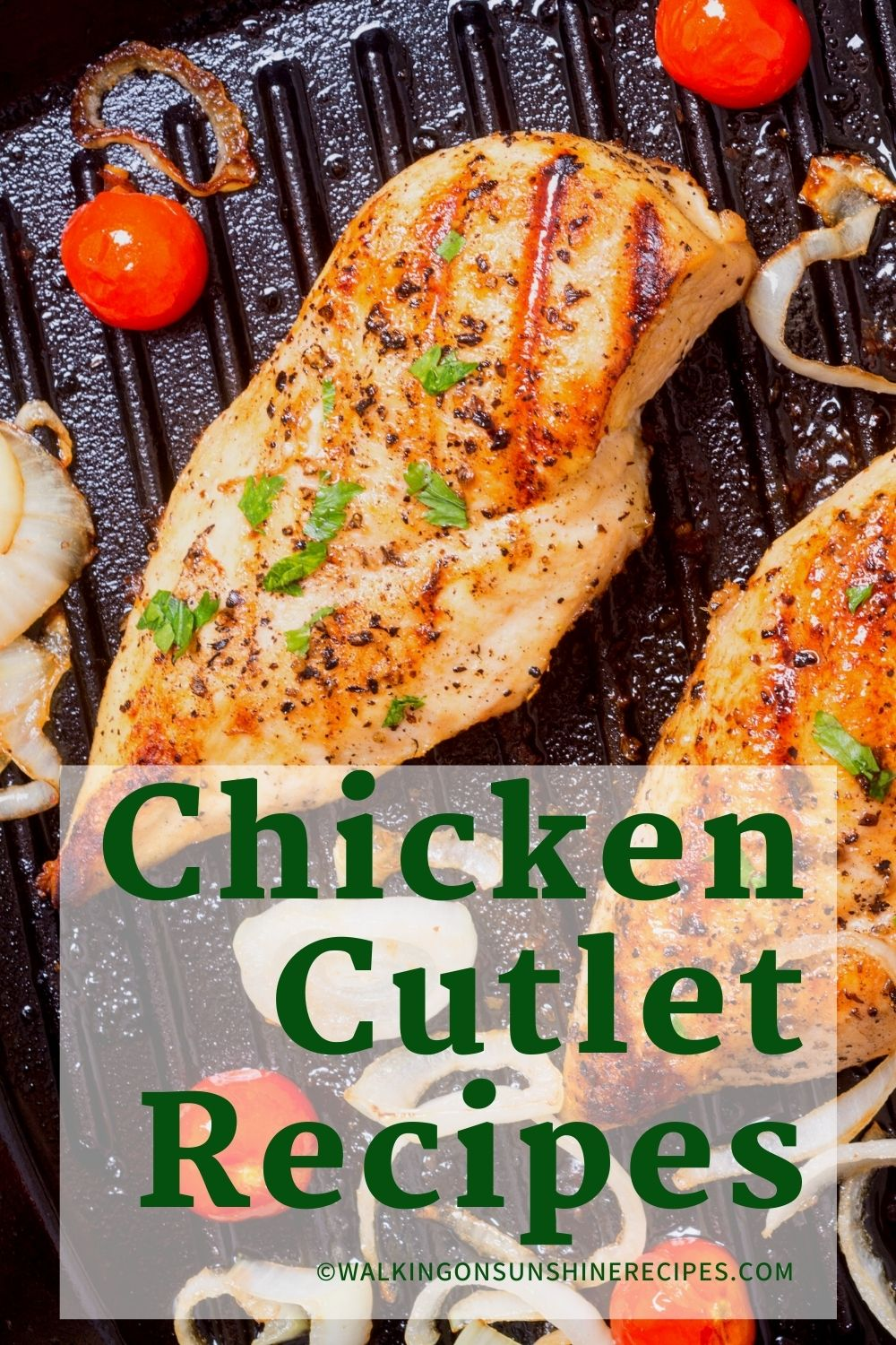 grilled chicken cutlets in cast iron pan.