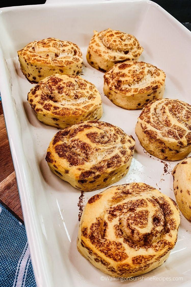 Baked refrigerator cinnamon rolls.