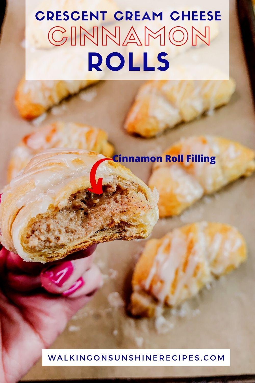 closeup of crescent cream cheese cinnamon rolls.