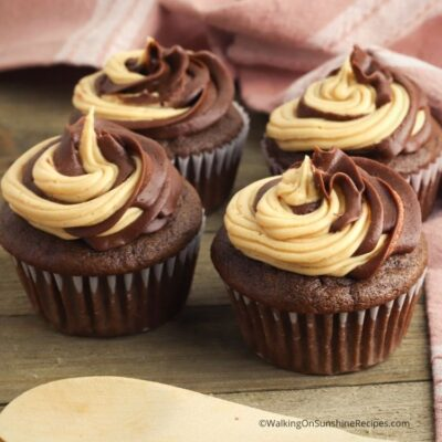 Chocolate Peanut Butter Stuffed Cupcakes