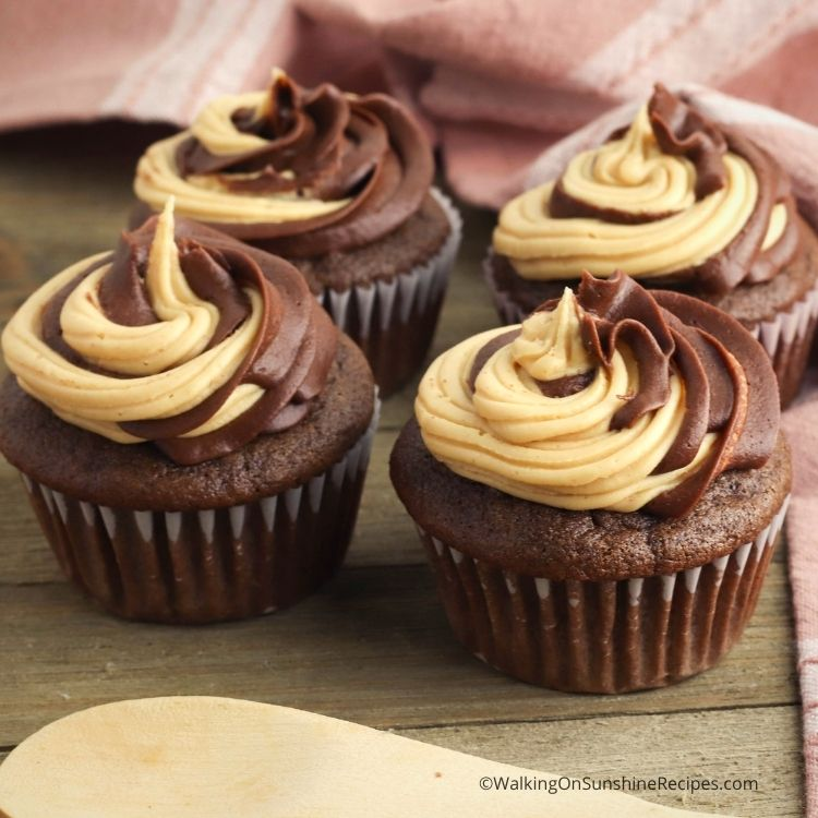 Cake mix chocolate cupcakes with peanut butter swirl frosting.
