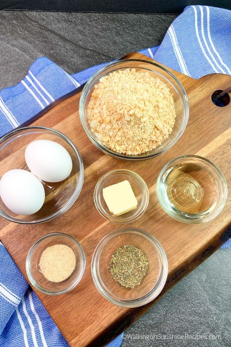 ingredients for Ritz cracker crumbs chicken cutlets.