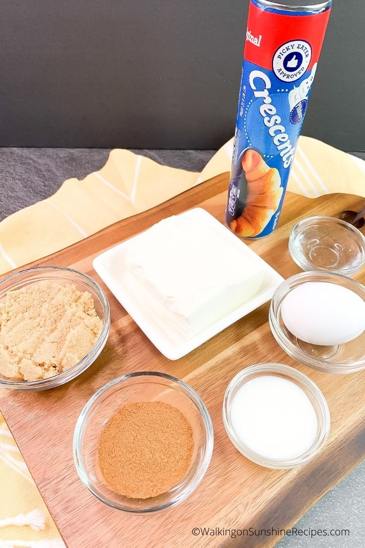 Ingredients for Crescent Rolls Cinnamon Cream Cheese.