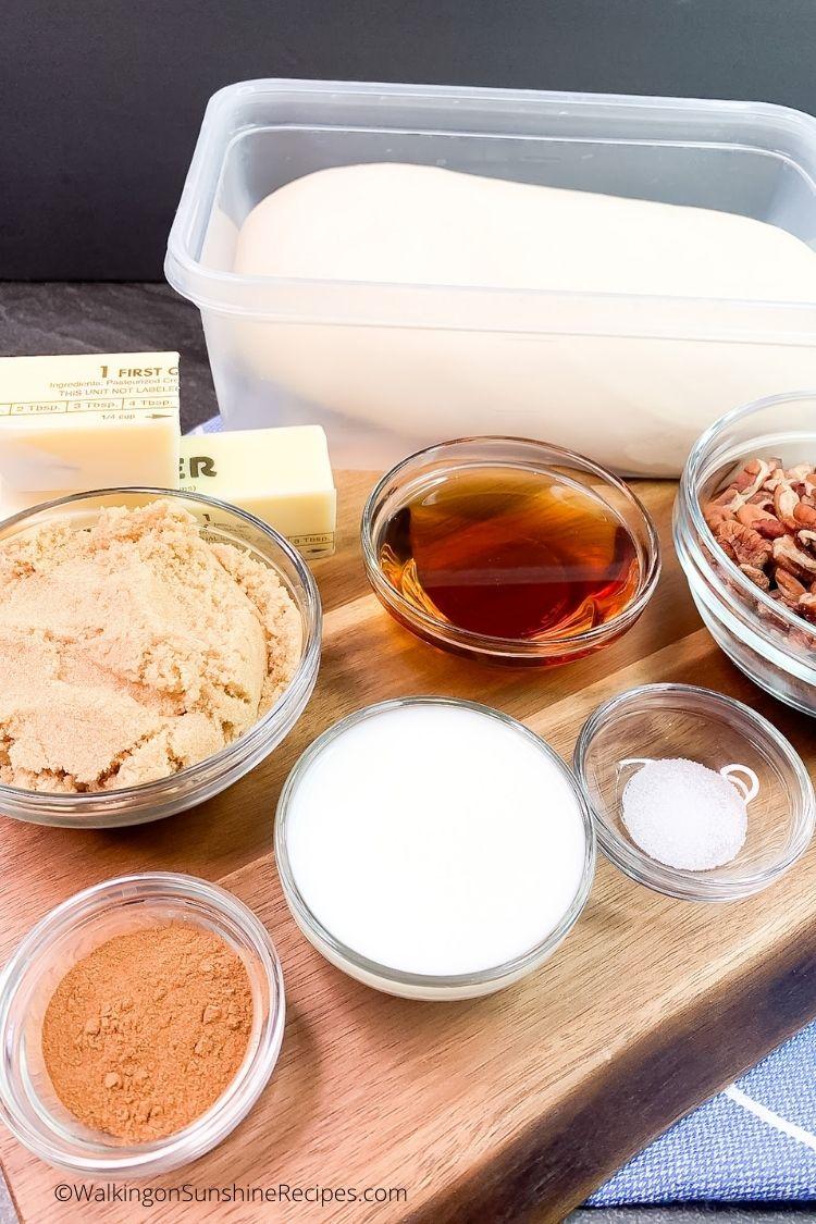Rhodes frozen bread dough and ingredients.