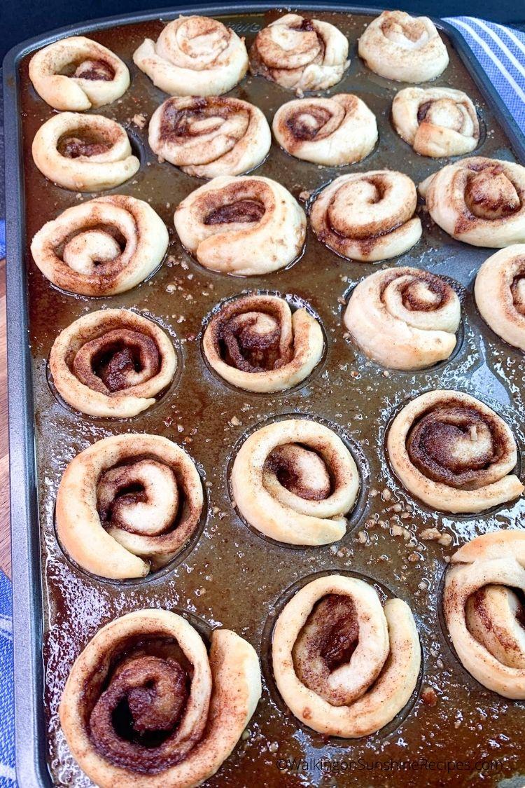 baked mini pecan cinnamon rolls in mini muffin pan.