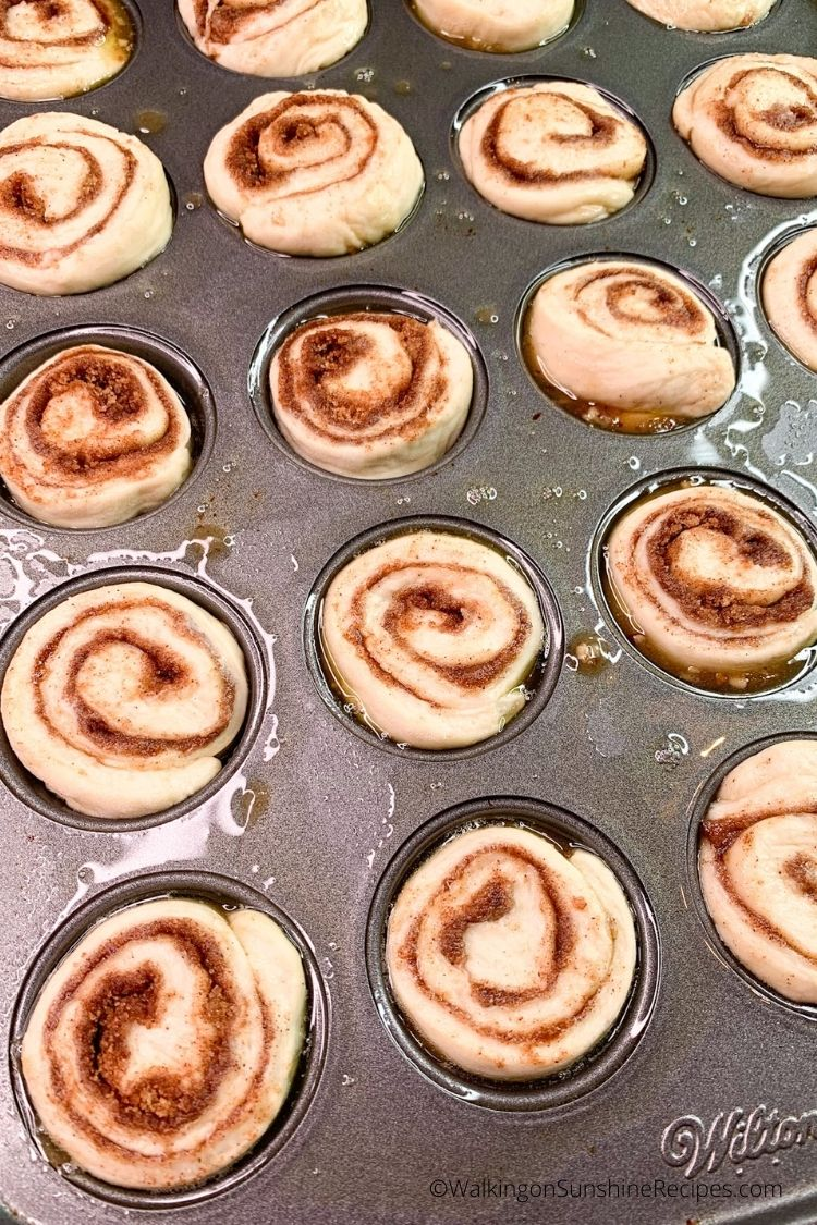 cinnamon rolls made with frozen bread dough in mini muffin pan.