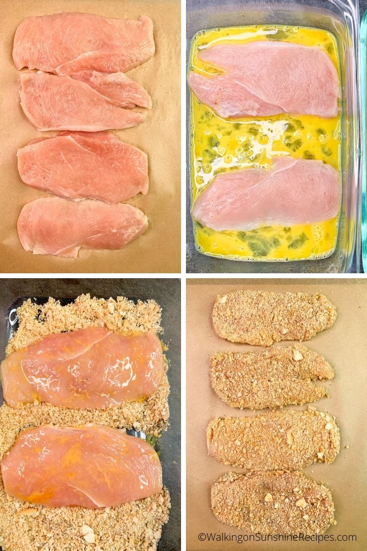 thin chicken cutlets in egg mixture and bread crumb mixxture.