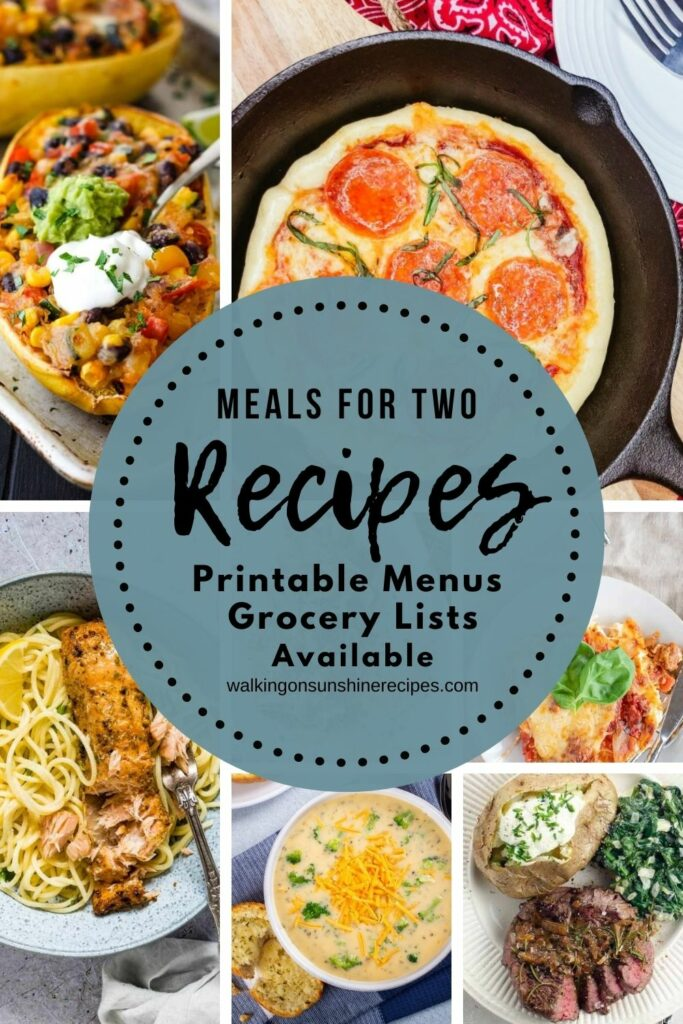 printable menus and grocery lists for weekly meal plan ideas for two people.