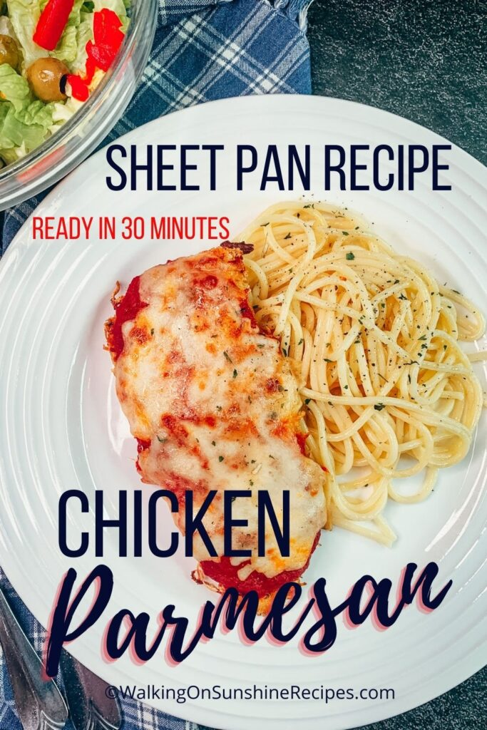 Sheet pan chicken Parmesan with spaghetti.