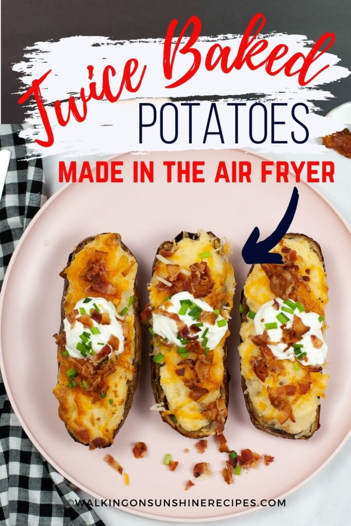 Air fryer twice baked potatoes with sour cream and chives.