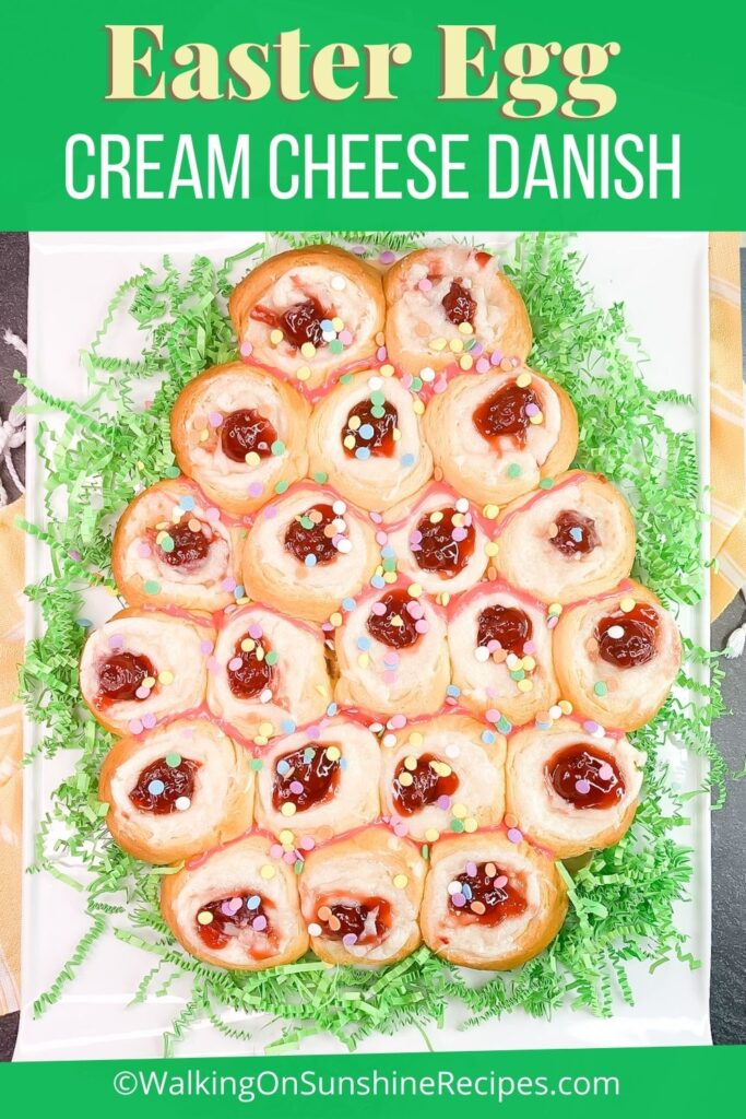 Crescent rolls filled with sweetened cream cheese and cherry pie filling.