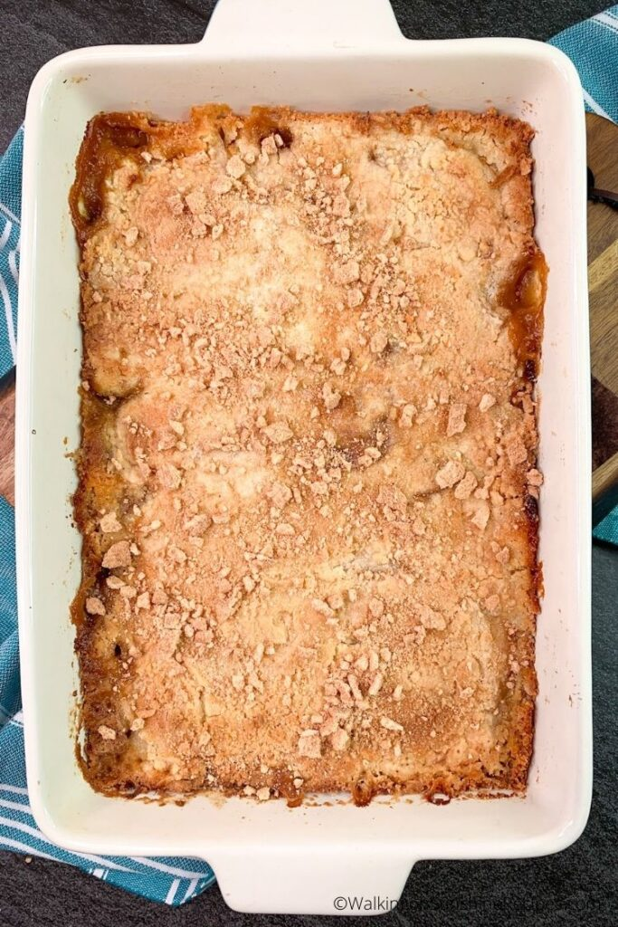 cinnamon toast crunch peach dump cake.