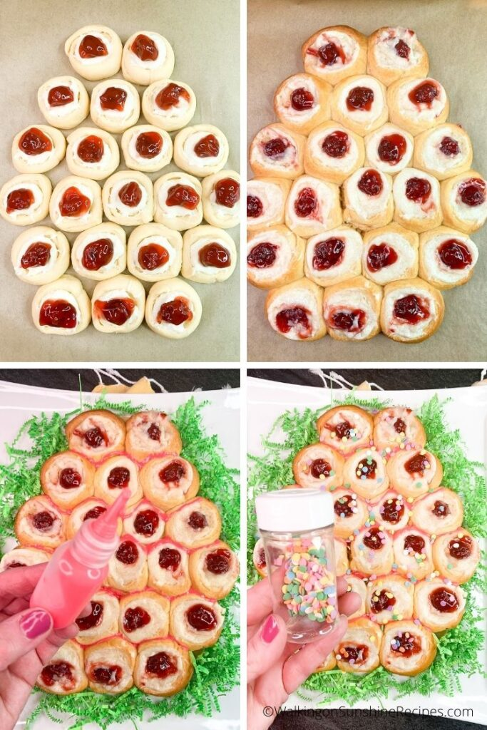 egg shaped cream cheese danish with Easter sprinkles.