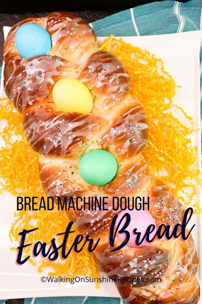 Easter Bread Glaze on top of braided loaf of bread.