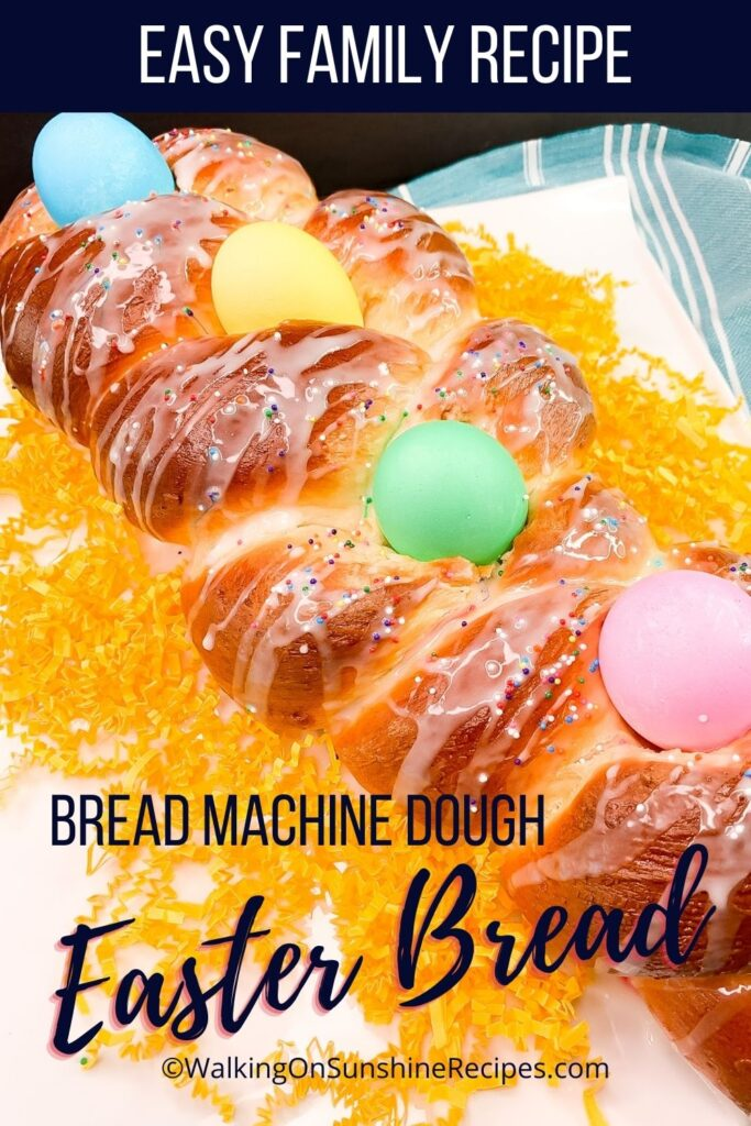 braided Easter bread with dyed eggs.
