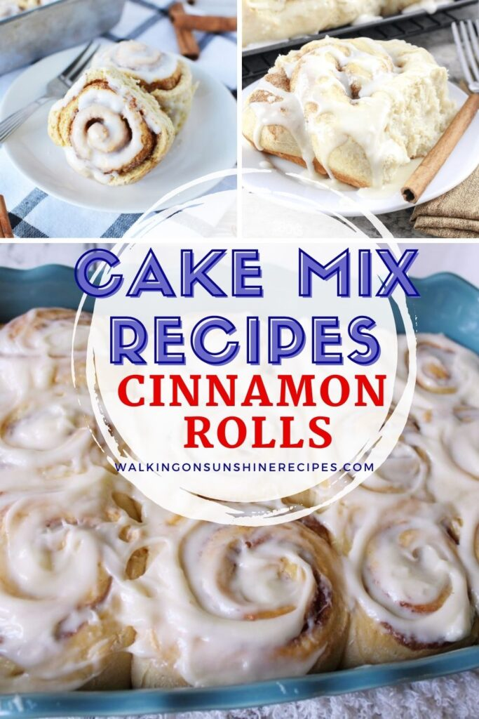 Cinnamon rolls made with box cake mix.