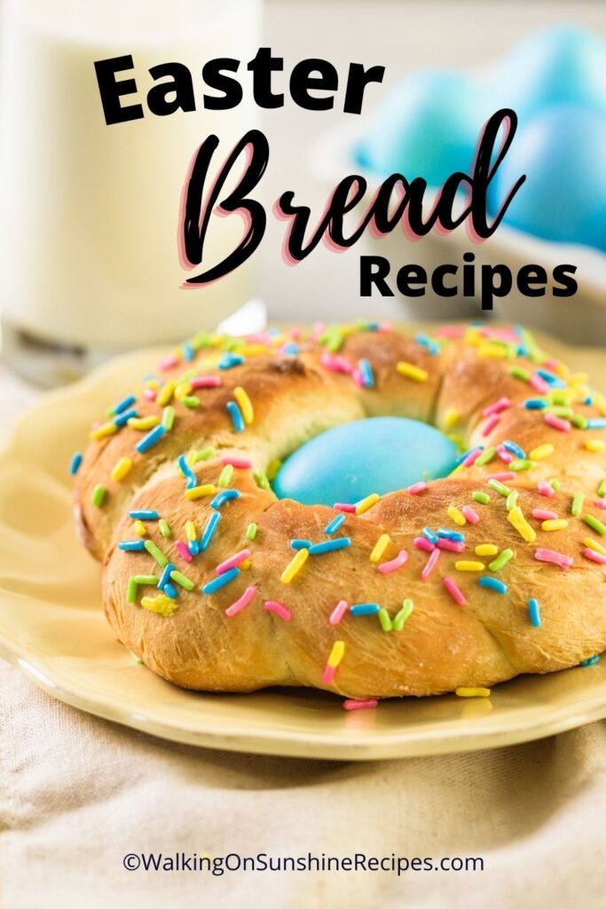 Easter bread rings with blue dyed eggs.
