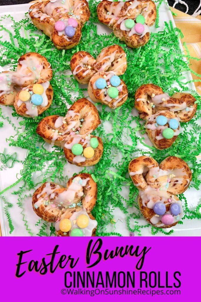 Refrigerator cinnamon rolls shaped into bunnies for Easter Sunday Morning Brunch.