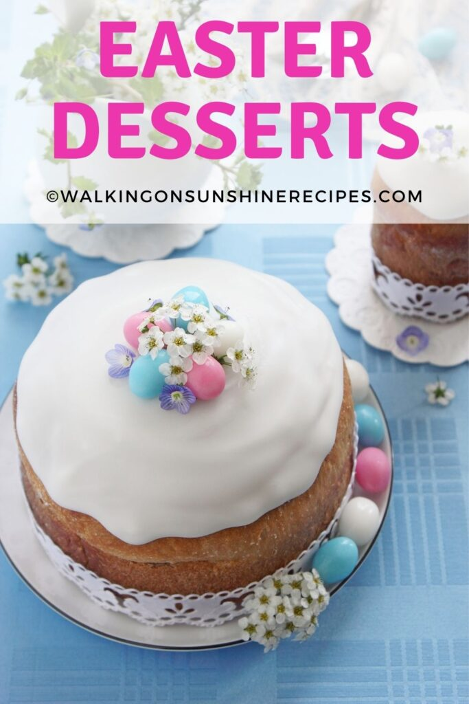 cakes with icing, mini egg candies and edible flowers.