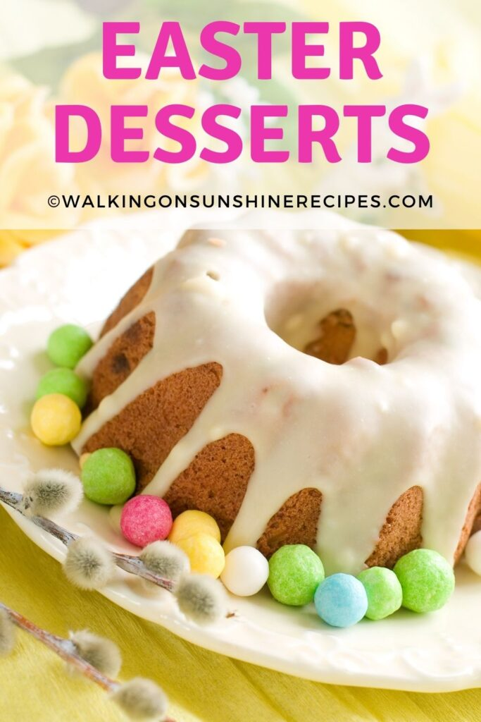 Bundt cake with icing and marshmallows.