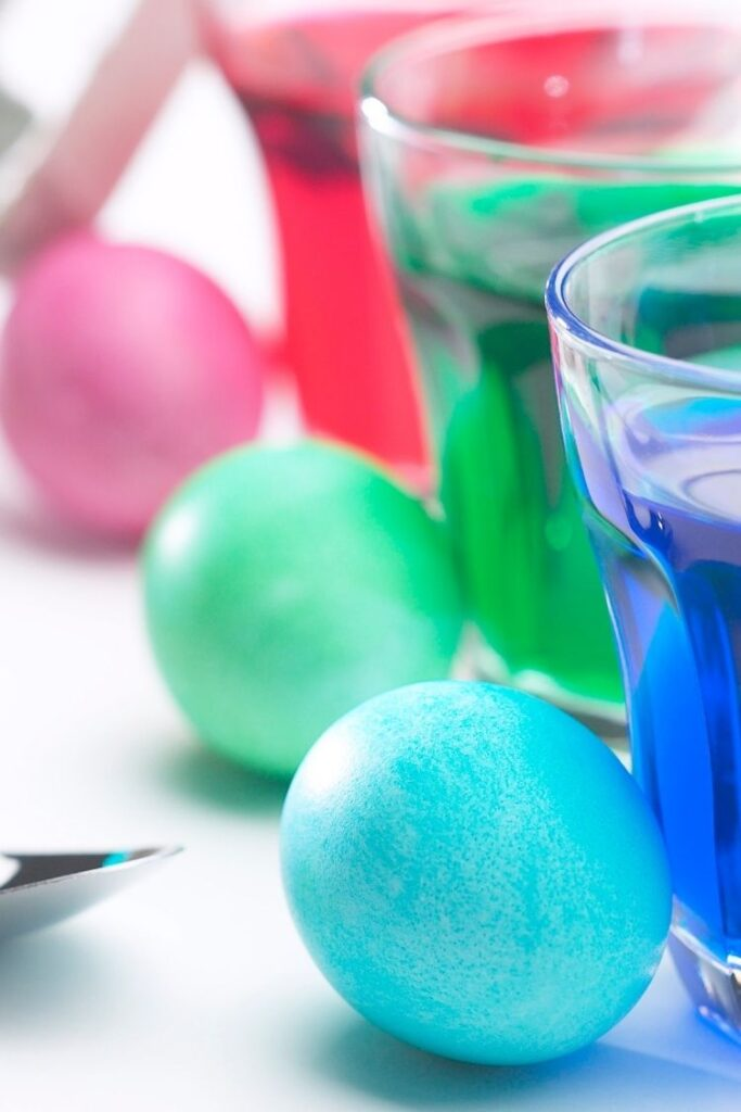 color eggs in food dye and water.