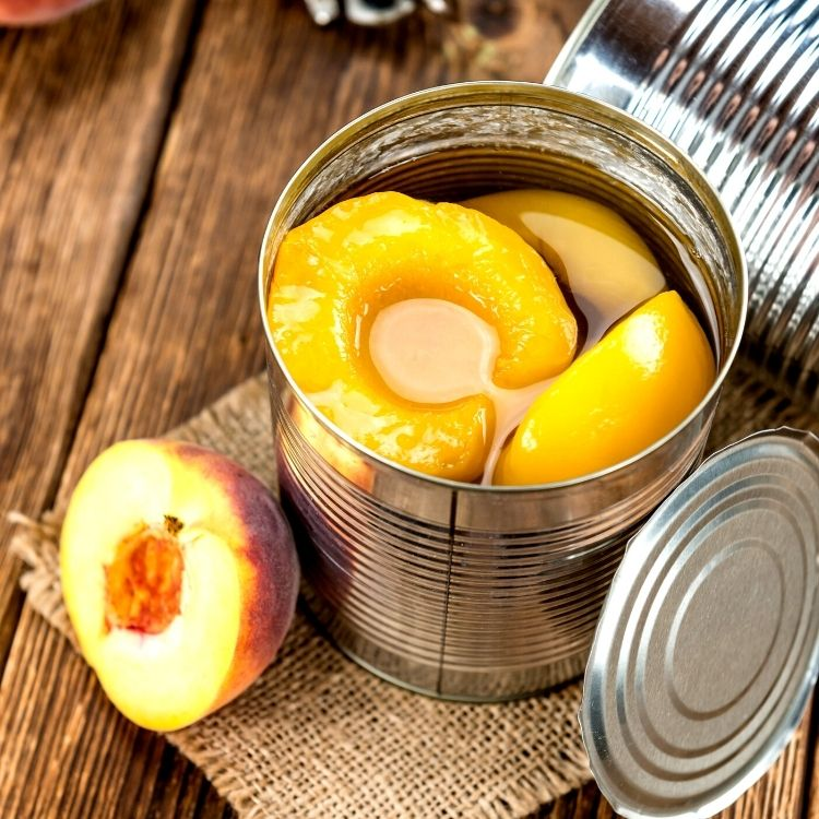 open can of peaches.