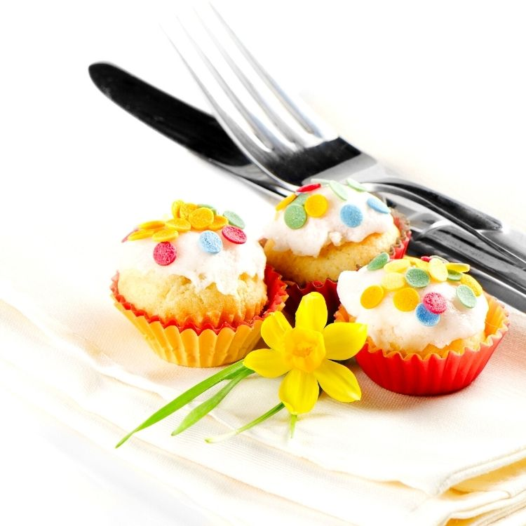 cupcakes with fork and knife.