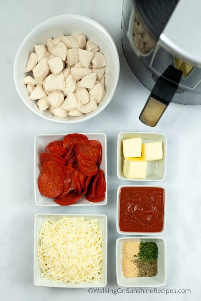 Ingredients with air fryer.