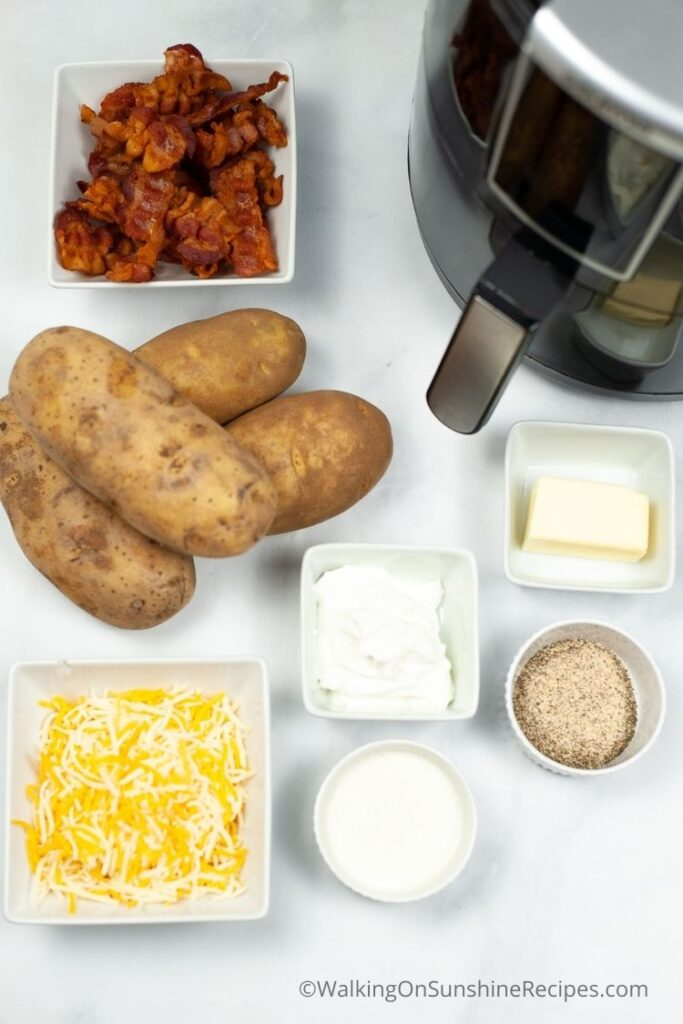 Twice baked potatoes ingredients with air fryer.