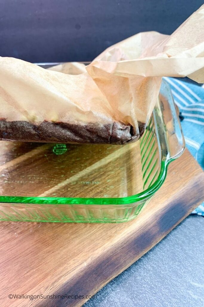 use parchment paper to lift fudge out of baking dish.