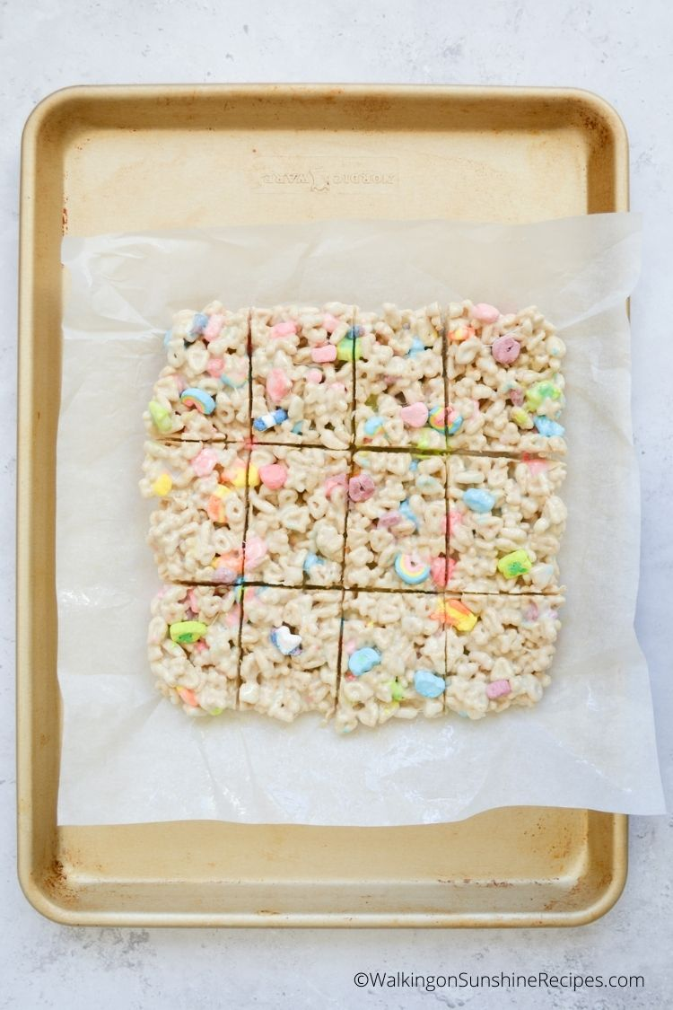Lucky Charms cereal made into bar treats with mini marshmallows.