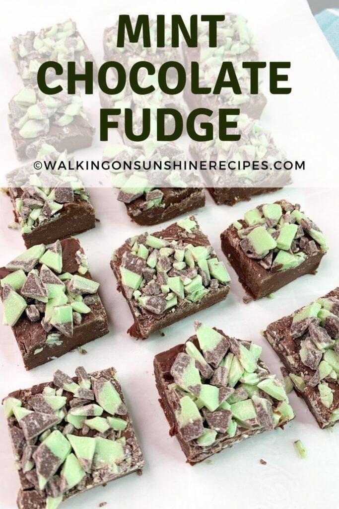 Mint Chocolate Fudge on white tray.