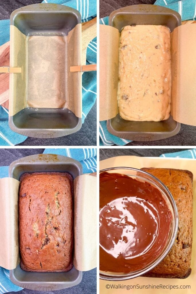 Add banana bread batter to loaf pan.
