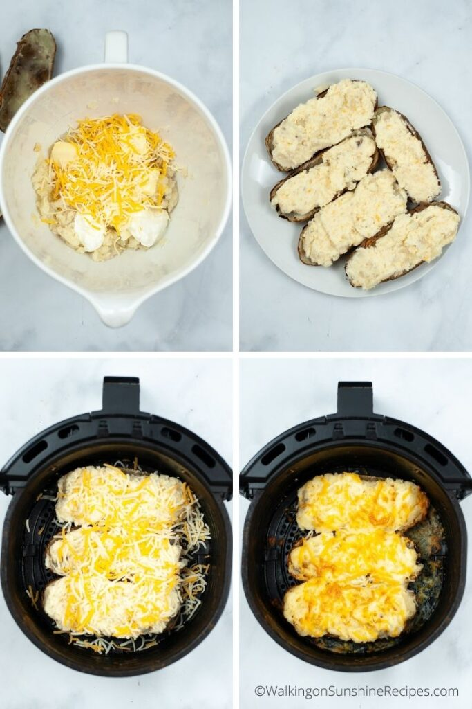 preparing twice baked potatoes.