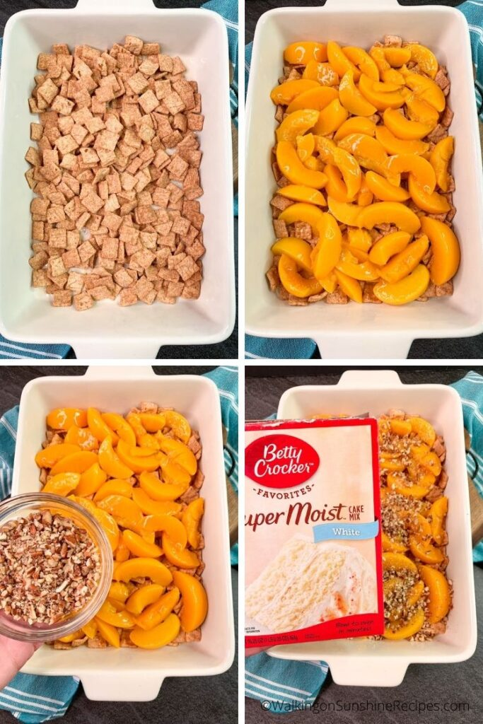 cereal, peaches and pecans in baking dish.