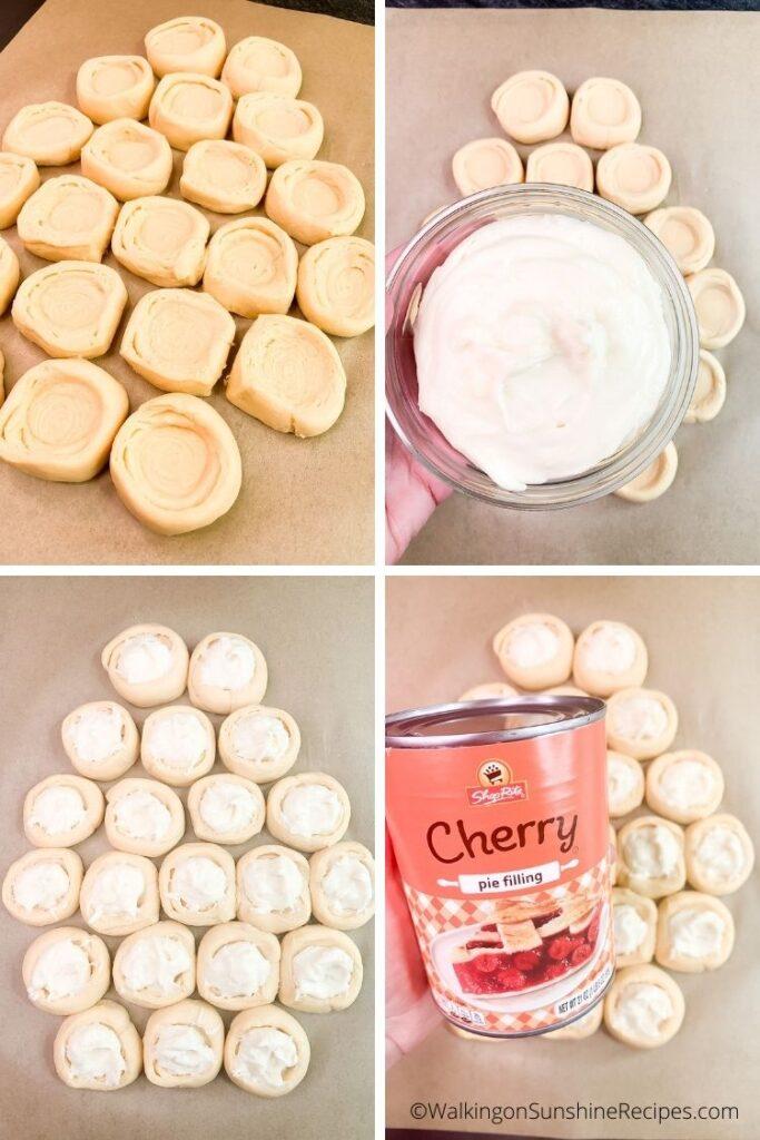 cherry pie filling and cream cheese danish.