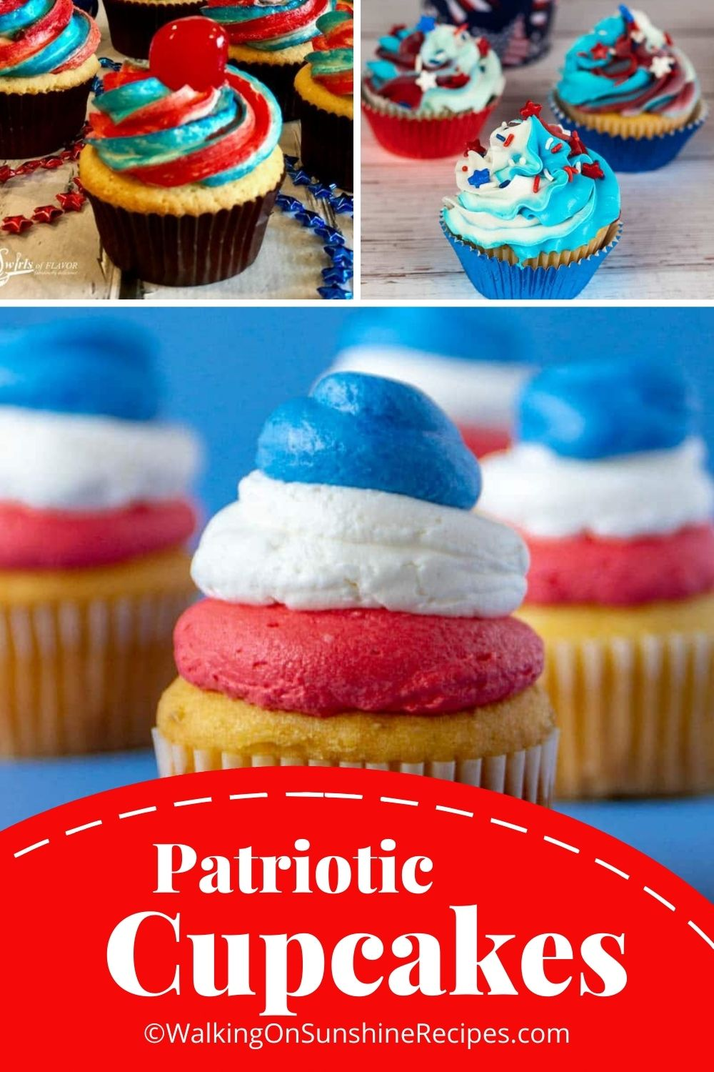 red, white and blue cupcakes.