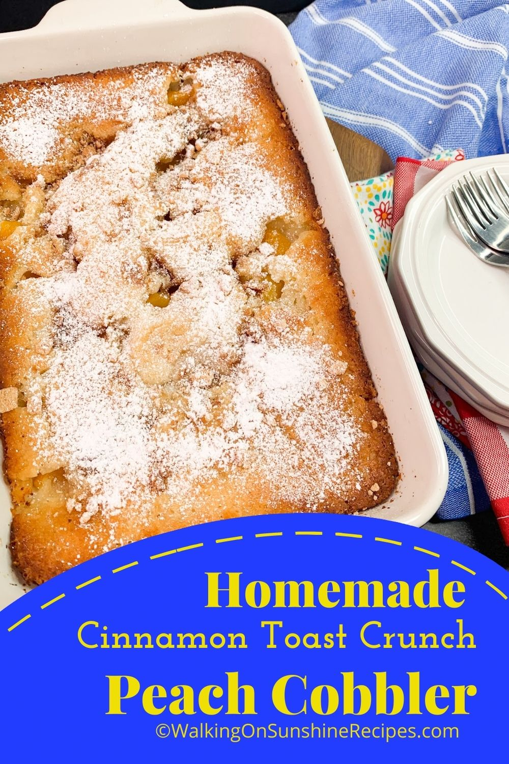 Baked Peach Cobbler with powdered sugar.