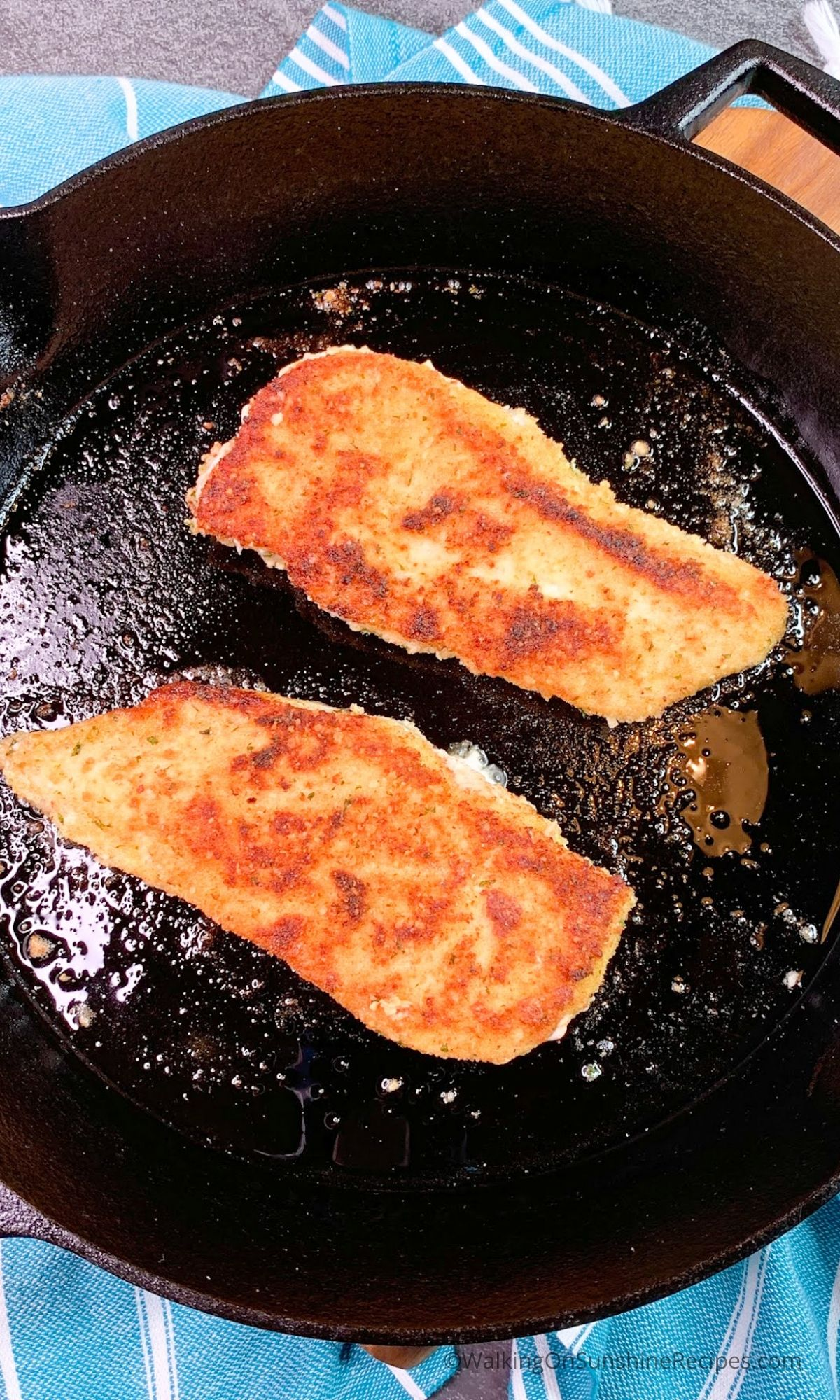 Baked thin chicken cutlets in cast iron skillet.