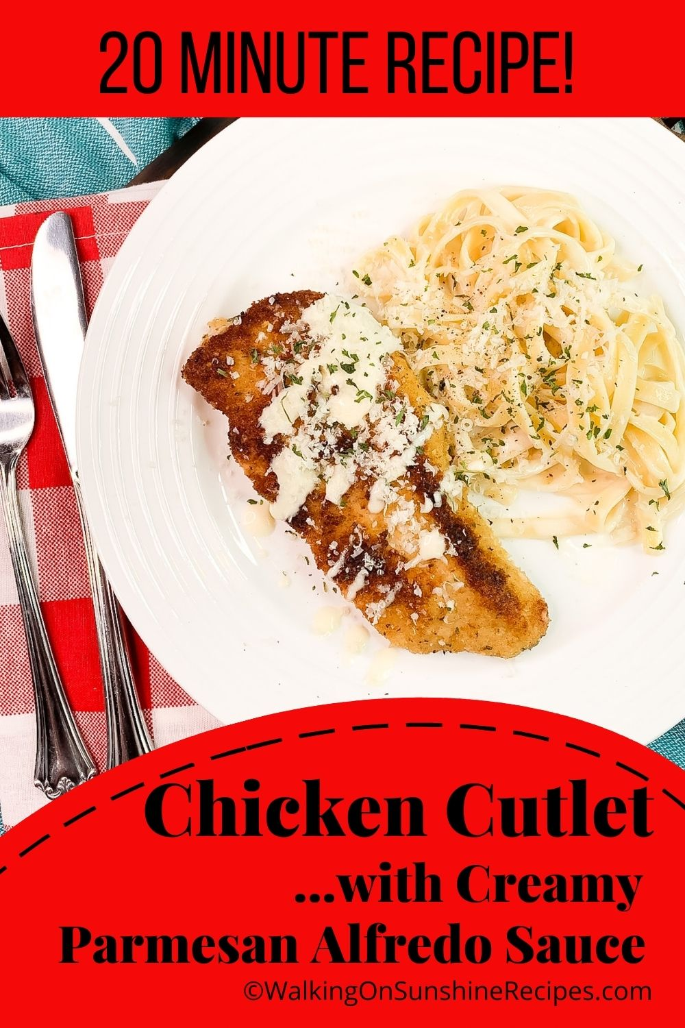 Fettuccine noodles with Alfredo sauce and crispy chicken cutlets.