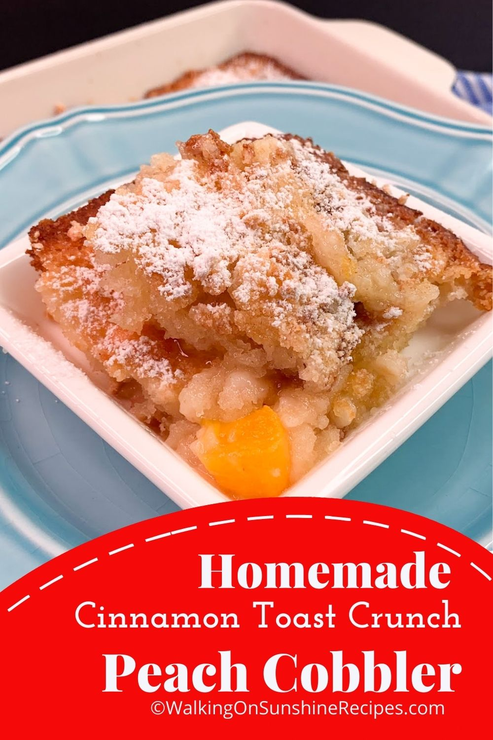 Closeup of peach cobbler made with self-rising flour and cereal.