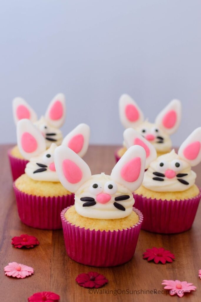 Bunny Cupcakes decorated with fondant.