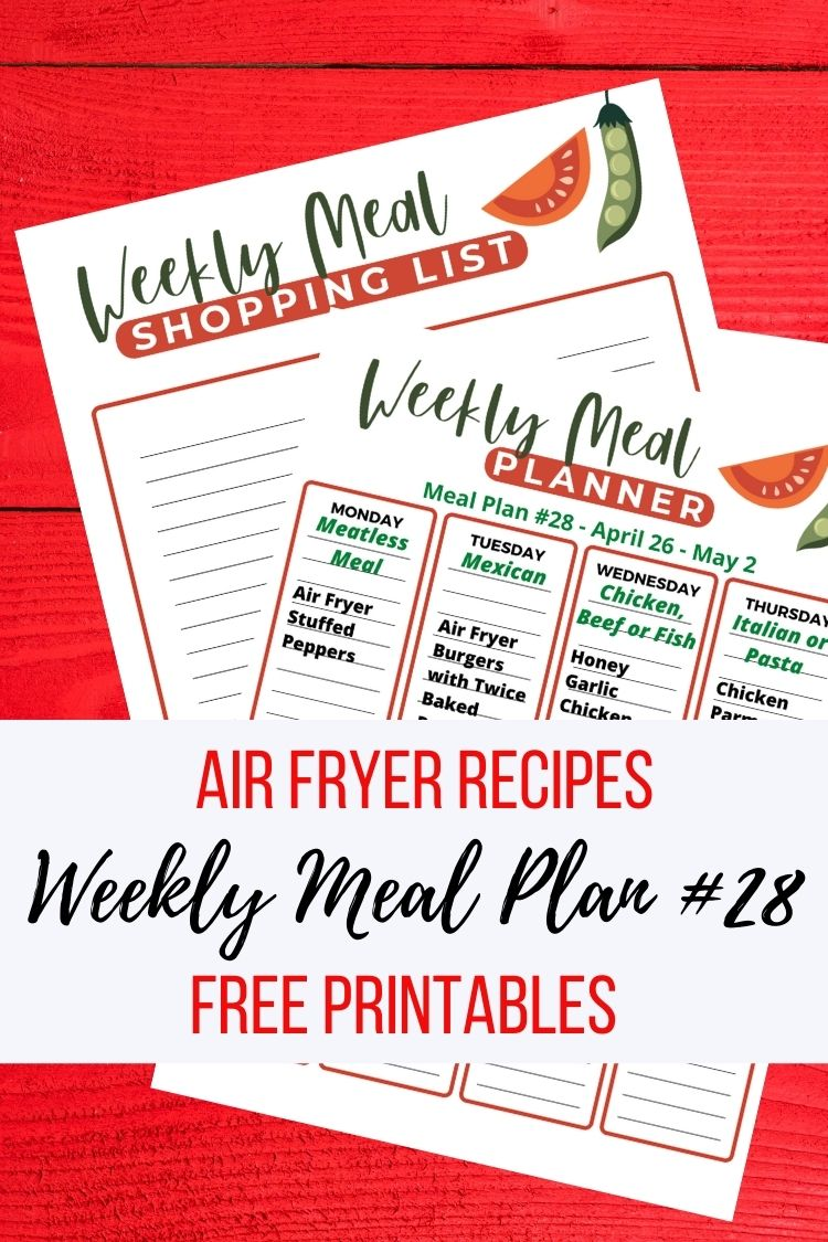 Printable meal plan and shopping list.