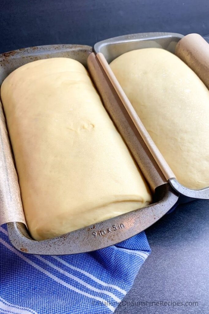 2 loaf pans with bread dough.