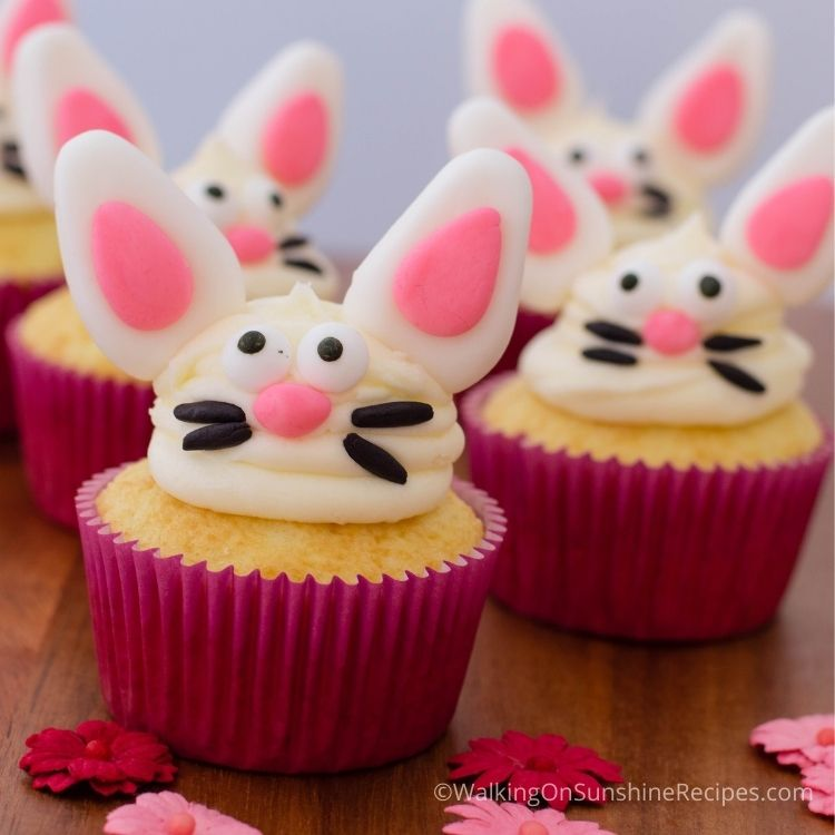 Easter bunny cupcakes made with fondant ears, nose and whiskers.
