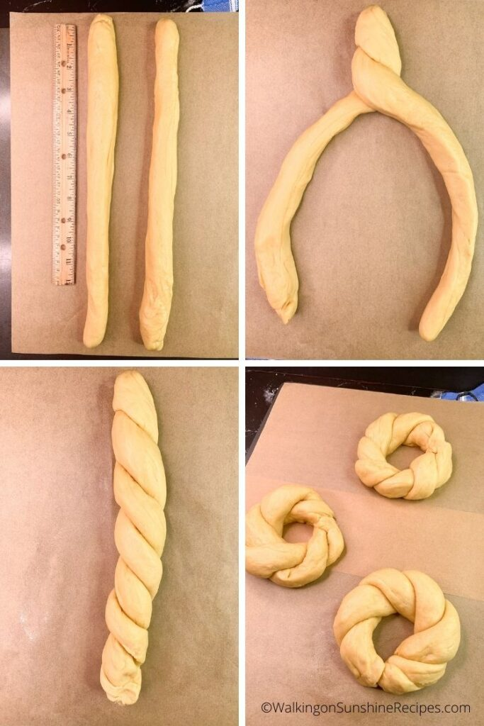bread dough braids and circles.