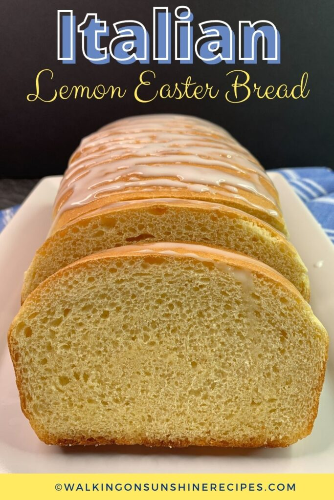 slice lemon bread with glaze.